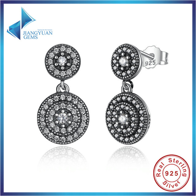 Fashion 925 Sterling Silver Radiant Elegance Earrings Clear CZ Crystals Surrounded Ancient Silver Women  Earrings
