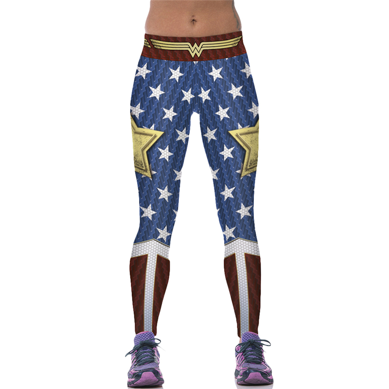 Woman Yoga Pants Gold Star Fitness Jogging Leggings Wonder Woman Sports Tights Red Blue Compression Trousers Hot