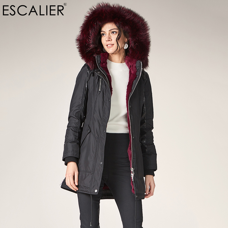 Escalier Women Liner Thicken   Down     Coats   2018 Winter Warm Slightly Waterproof Fox Fur Collar Hooded   Coat   Female casual   Down     Coat