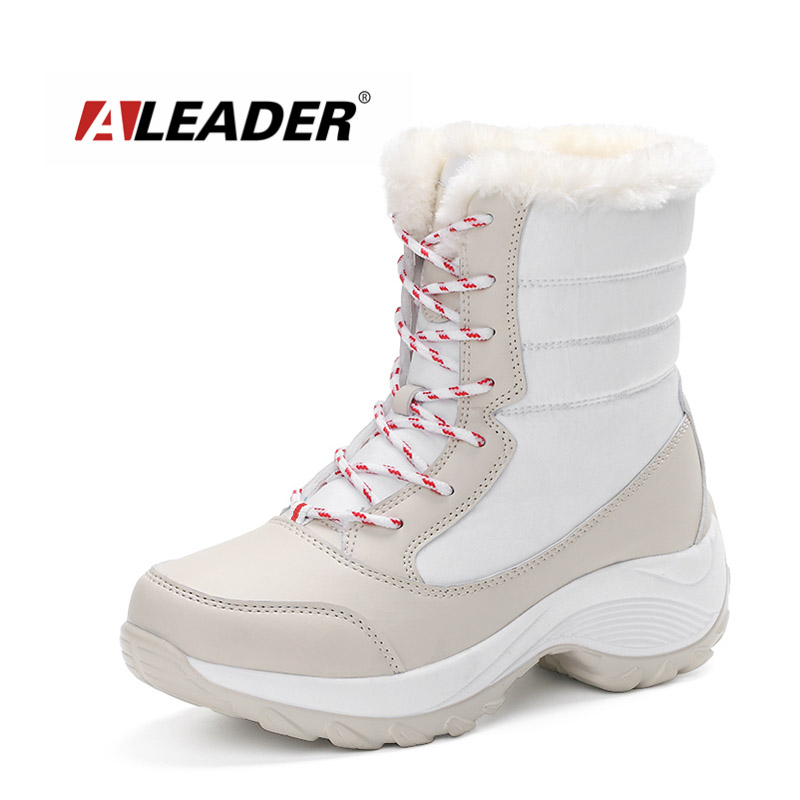 ALEADER Waterproof Winter Boots Women Height Increasing Shoes Mid Calf Plush Snow Boots Women Warm Outdoor Walking Sneakers Lady double buckle cross straps mid calf boots