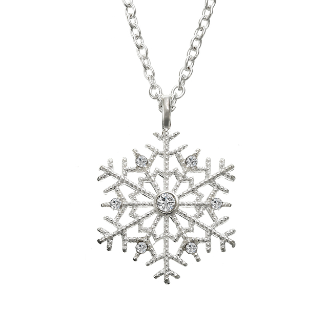 Luxury Crystal Snowflake Pendants&Necklaces Fashion Silver Plated Chain Necklace