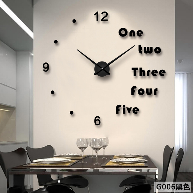 DIY Wall Clock Modern Design Large Clocks For Living Room Decorative European Creative 3D Stickers Big
