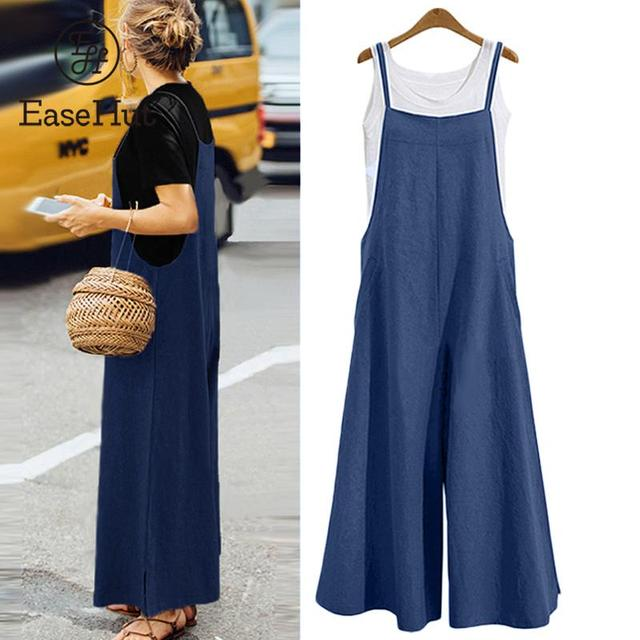 EaseHut Plus Size S-3XL Women Cotton Linen Pocket Long Wide Leg Romper Strappy Dungaree Bib Overalls Casual Loose Solid Jumpsuit