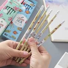 цены 12 PCS Pencil Wood Pencils Set Animal Print Pencils for Kids school office writing kids Lead Sketch pencils with erasers