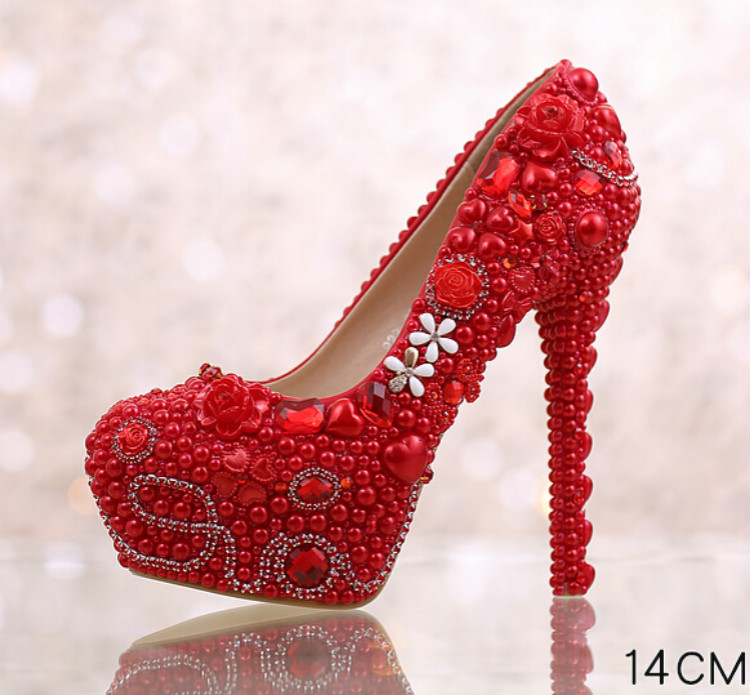 ФОТО Red bridal shoes high with round pearls Fine with diamond dress shoes Married toast shoes waterproof shoes