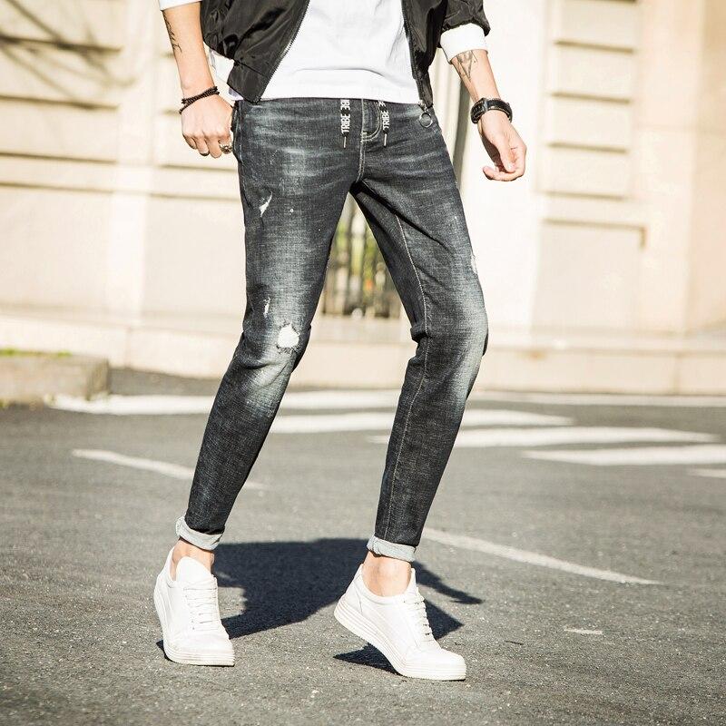 Hommes Jeans 2018 Nouveau Denim Cheville-Longueur Pantalon Trou Mâle Neuf Dixièmes Longueur Pantalon Crayon De Mode Pantalon noir foncé gris 586