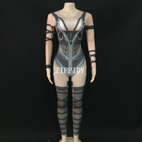 Fashion New Long Sleeves Rhinestones Printed Jumpsuit Women Jazz Dance Black Bodysuit Outfit Evening Show One piece Wear