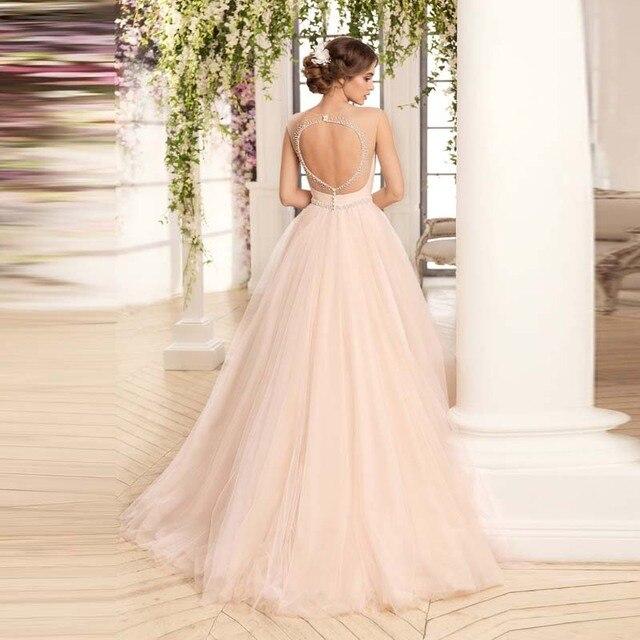 2017 rosa Romantische Ballkleid Tüll Brautkleid Mit Perlen Open ...