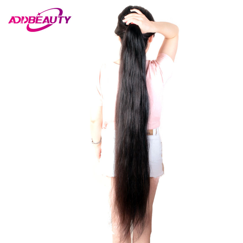 Addbeauty 8-34 30 32 34 36 38 40 Inch Brazilian Hair Weave Bundles Straight Human Hair Extensions Natural Color Double Drawn