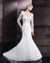 Free Shipping 2014 Best Corset Bodice Sheer Sleeves Long Sleeves Sweep Train Mermaid Wedding Dresses With Appliques WX11608