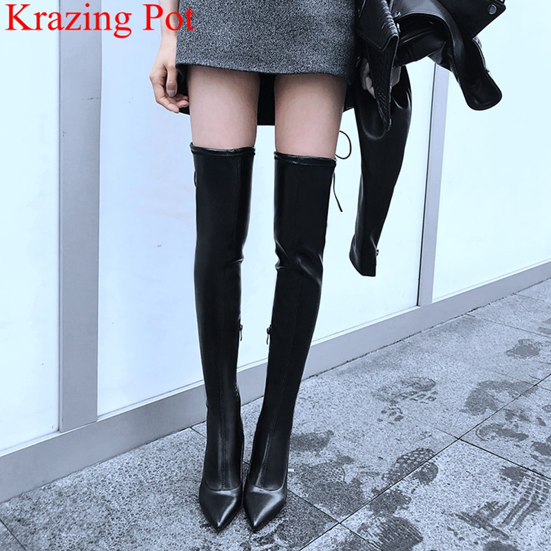 2018 superstar high heels big size zipper women ankle boots pointed toe thigh high boots elegant runway party winter shoes L53 2018 new arrival genuine leather tassel shoes women super high heel sollid large size zipper pointed toe elegant ankle boots l53