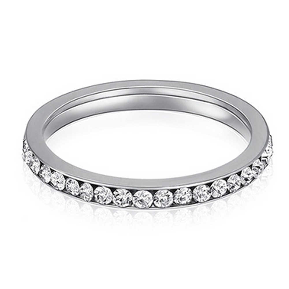 Stainless Steel 3mm Eternity Ring Clear Cubic Zirconia Womens Stackable Engagement Wedding Band