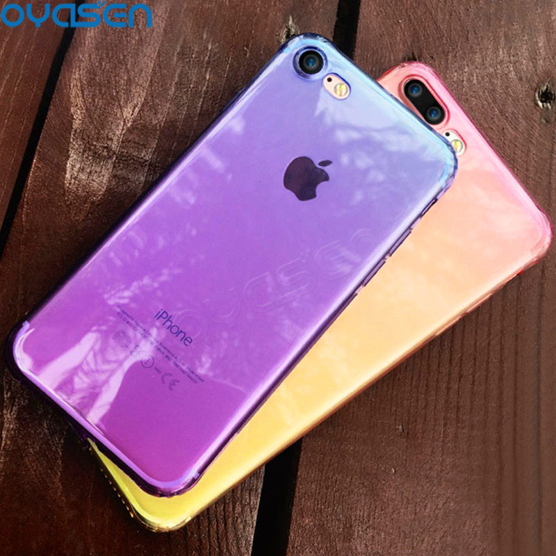 Gradient Color Cases For iPhone X 8 7 6S 6 Plus Ultra-thin Soft Silicone Shockproof Phone Cover Shell For iPhone 7 8 Plus Fundas