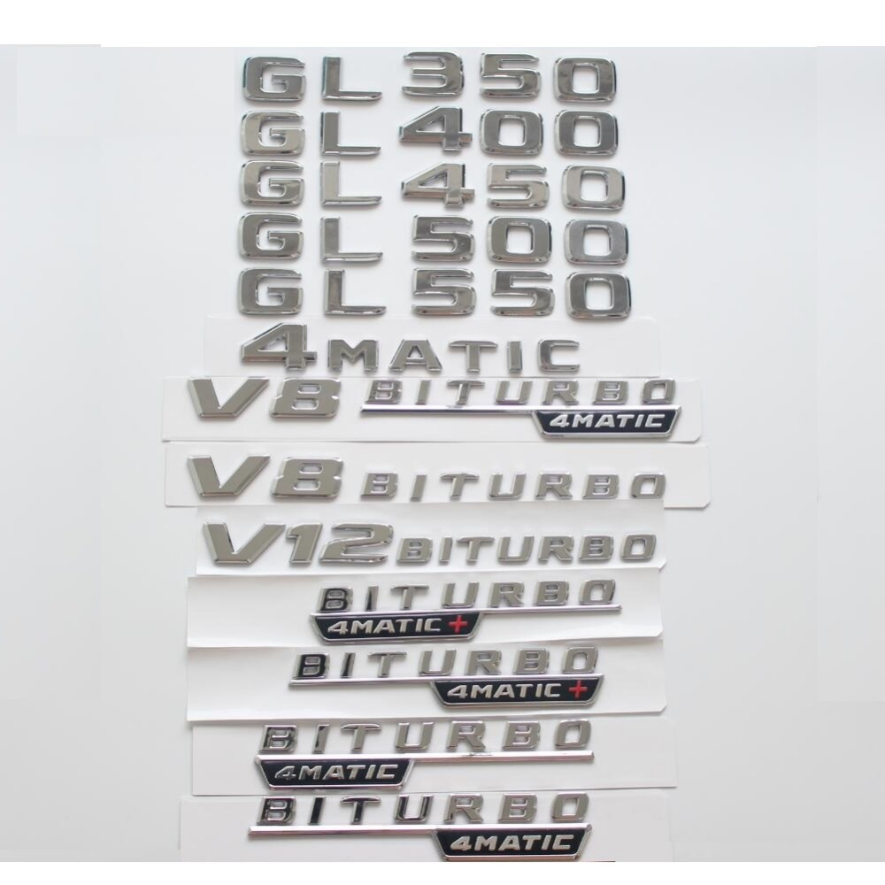 1pair BITURBO 4MATIC Chrome Trunk Letters Badges Emblems