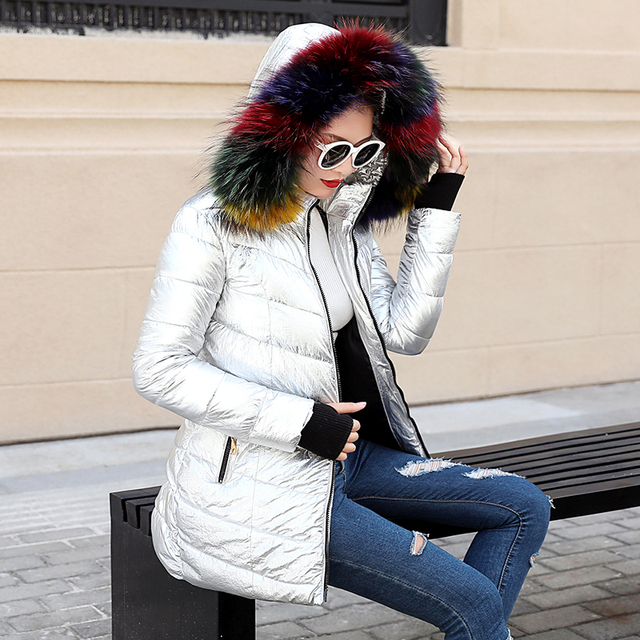 Damskie kurtki zimowe krótki ciepły płaszcz srebrny kolor