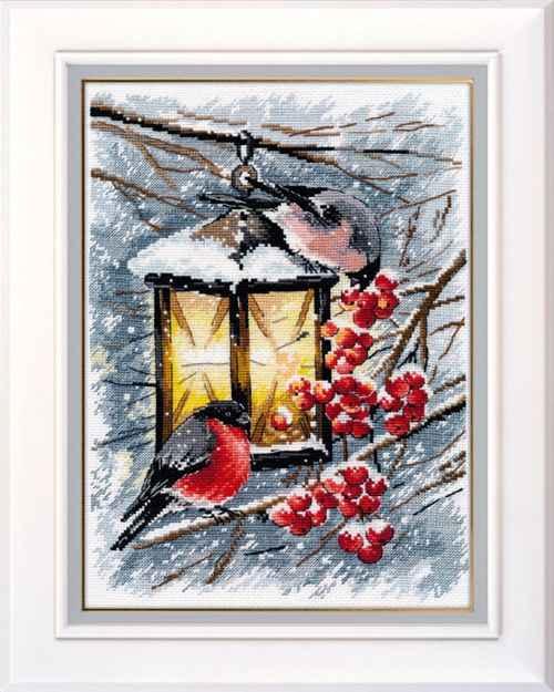 14/16/18/27/28 คอลเลกชันทองนับชุดตะเข็บข้าม Robin Bird และ Berry Red ผลไม้, คริสต์มาสโคมไฟฤดูหนาวหิมะ