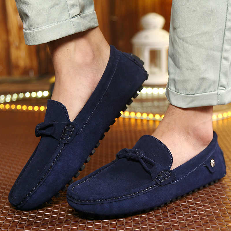 4bd25cdbe4 Ngouxm Men Loafers Moccasins Casual Suede Leather Shoes Men's Navy Blue  Slip On Moccasins Shoes Man