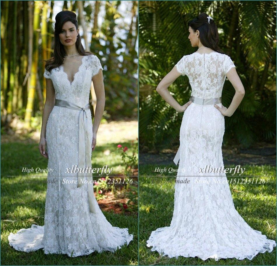 Romantic Vestido De Noiva Renda Sereia V Neckline Short Sleeve Ivory Vintage Lace Wedding Dress 2015 Silk Sash Bridal Gowns In Dresses From Weddings