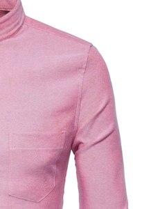 Image 4 - Męska koszulka Oxford Slim dopasowana sukienka marki stójka z długim rękawem koszulka Homme Casual business Office koszula z kieszenią czarna
