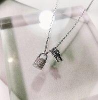 Designer style exquisite full drill lock key short key lock pendant necklace