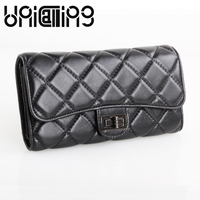 UniCalling Genuine Leather womens wallets and purses Large capacity Fashion Diamond lattice Sheepskin hasp long wallet women