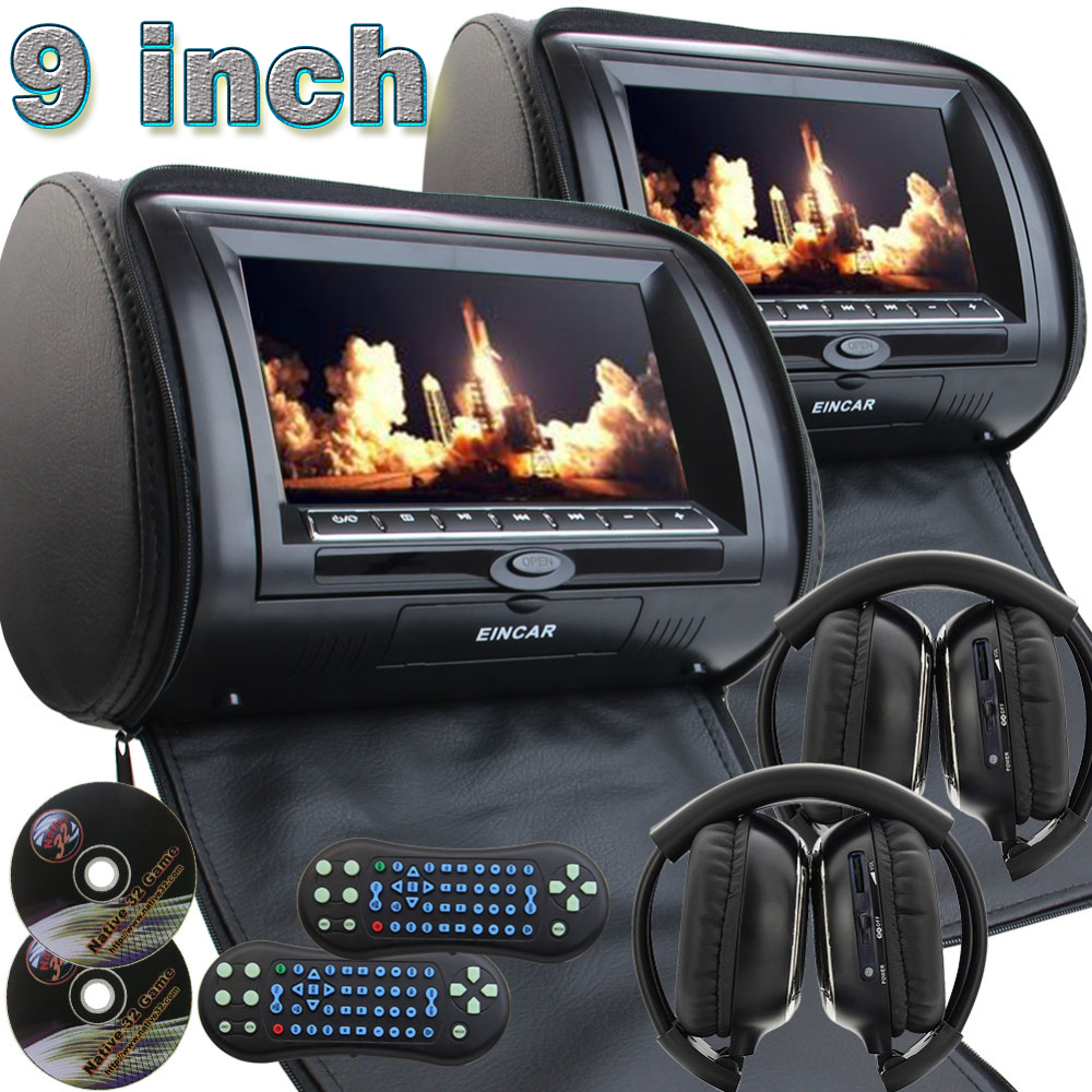 9 inch Car Headrest neck pillow DVD Player Monitor Digital TFT Screen Headrest DVD Player FM USB With Game Disc+IR Headphones eincar pair of car headrest dvd player monitor usb sd cd mp3 mp4 car entertainment fm ir headrest video player 2 ir headphones