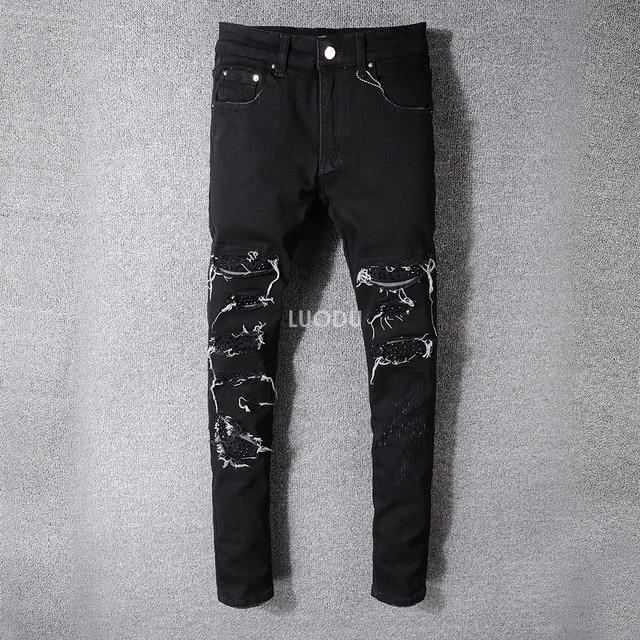 5a6e5560ee83 Nuevo estilo italiano #524 # pantalones rotos desgastados bordados bengalas  parches vaqueros ajustados negros talla