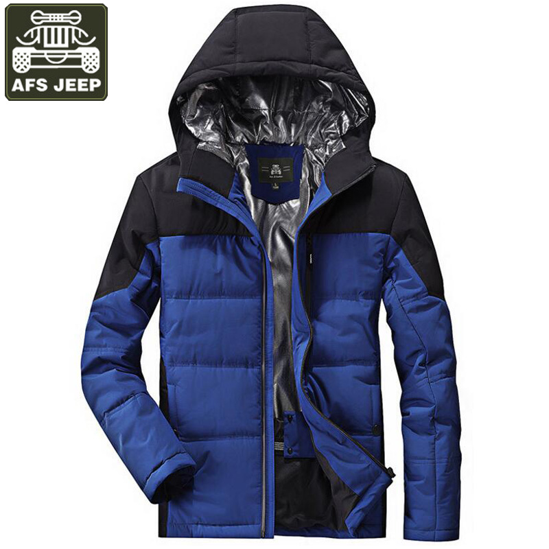 AFS JEEP Brand Winter Jacket Men Parkas Thick Warm Men's Jackets And Coats Casual Hooded Collar Windproof Jacket Plus Size M-4XL free shipping winter parkas men jacket new 2017 thick warm loose brand original male plus size m 5xl coats 80hfx