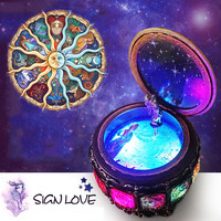 2018 Retro Twelve Constellations Resin Castle In The Sky Music Box Birthday Gift