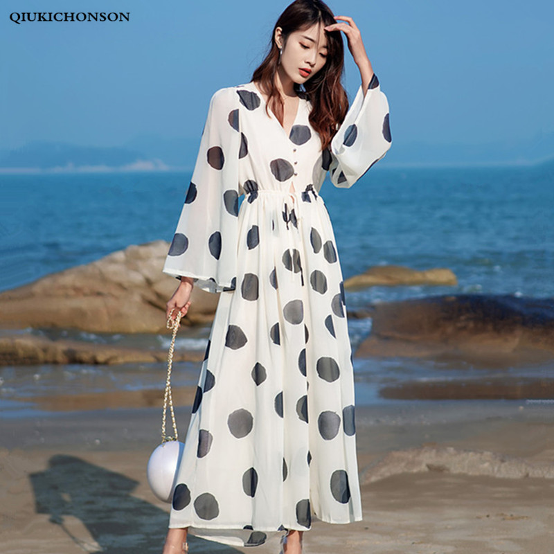 Chiffon Overalls For Women Elegant Ladies Polka Dot Wide Leg Jumpsuits Long Sleeve V-Neck Waist Cut Out Boho Jumpsuit Palazzo