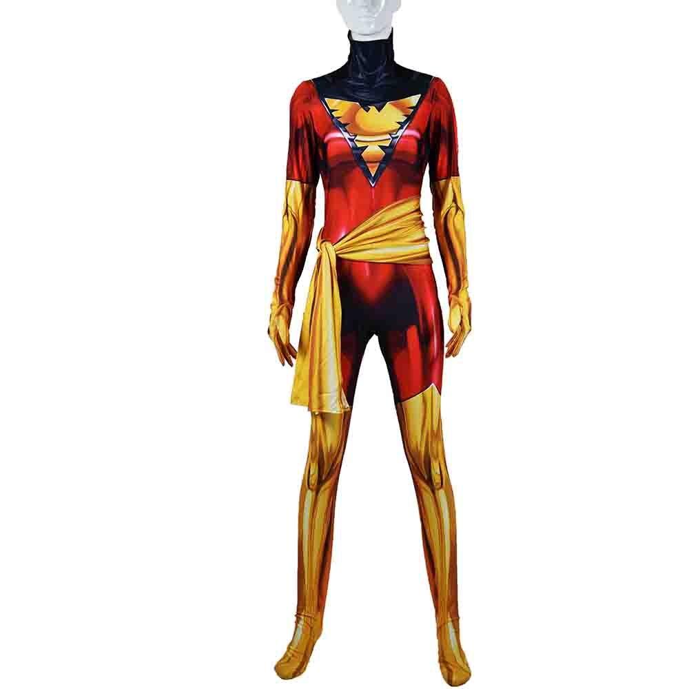 2018 X-men Phoenix Jean Grey Costume 3D Female Superhero Cosplay Zentai Suit with Belt