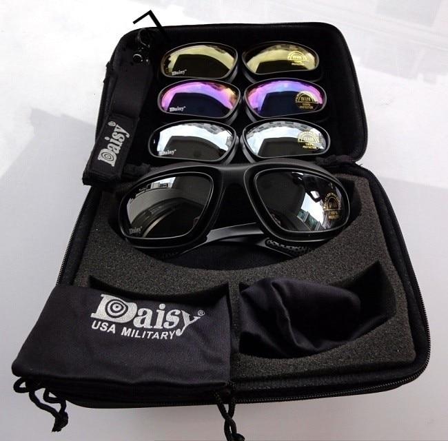Polarize FS C5 Army Goggles Desert Storm 4 Lenses Outdoor UV Sports Hunting Military Sunglasses Men