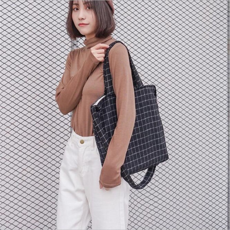 Winter Plaids Woolen Canvas Shoulder Bags Tote Package Crossbody Shopping Bags School Travel Handbag Pouch