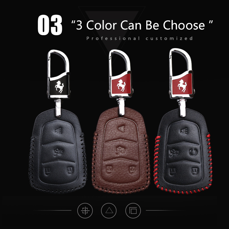 Black / Genuine Leather Car Logo Keychain Suit for Cadillac ATS CTS EXT SRX XTS XLR Sedan ELR Key Chain Keyring Family Present for Man and Woman