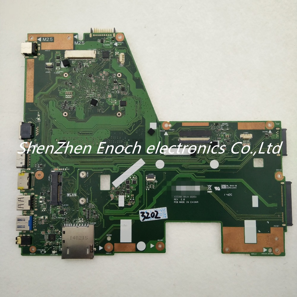 For  ASUS X551MA  integrated laptop motherboard X551MA MAIN BOARD SR1SJ N2815 CPU   stock No.999