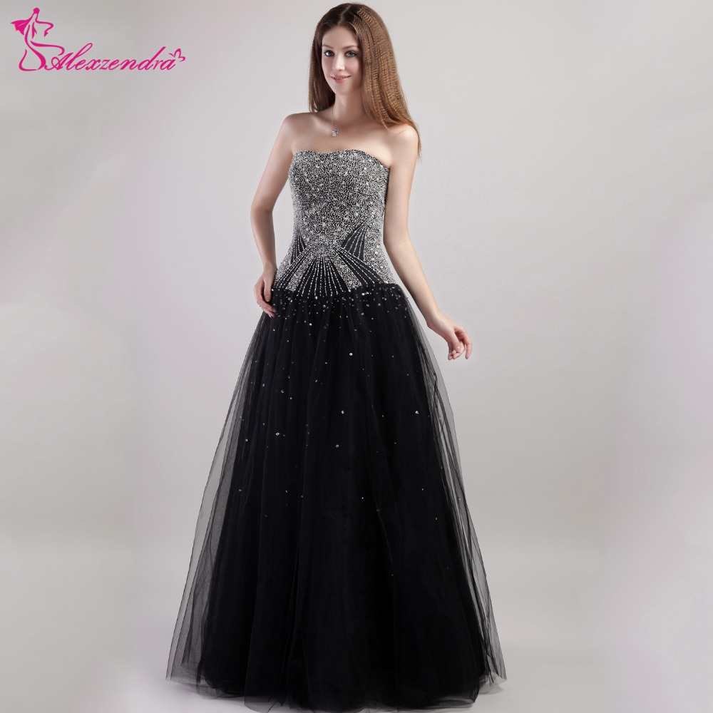 Alexzendra Black Tulle Beaded A Line Long Prom Dresses Evening ...