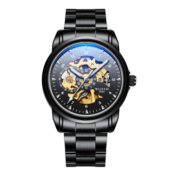 2019 New Black Men Blu-Ray WristWatch Stainless Steel Antique Steampunk Casual Male Clock Automatic Skeleton Mechanical Watches tissot t touch prix