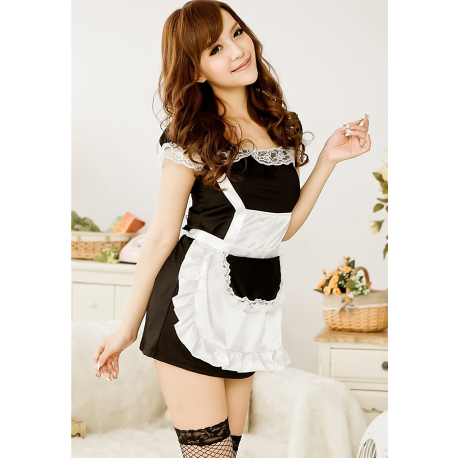 White tudor apron - Women Sexy Erotic Lingerie Temptation Lace French Apron Cosplay Maid Servant Sexy Costumes Babydoll Dress Sex