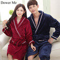 Dower Me Women Winter Robes Women & Men's Nightgown Thickened Velveteen Flannel Bathrobe Soft Warm Nightgown Pajamas Bathrobe
