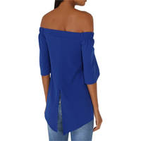 Off Shoulder Slash Neck Half Sleeve Casual Tops Shirts Plus Size Women Sexy Blouses Back Split