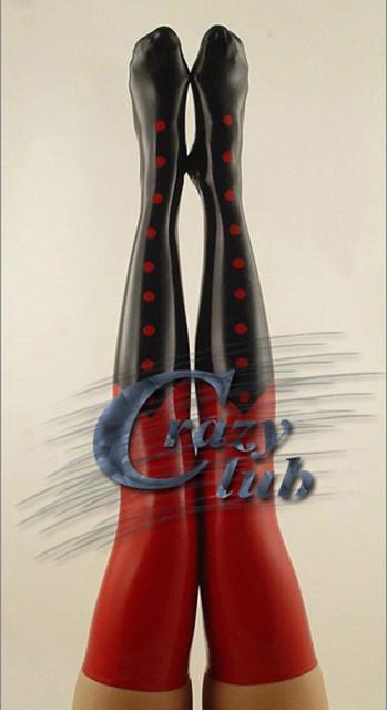 Loco club_Zentai puro látex natural hecho a mano rojo y negro látex medias mujeres sexy medias de látex látex hoja Envío Gratis