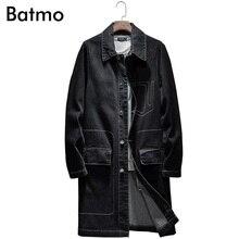 BATMO 2019 new arrival spring high quality cotton denim trench coat men,men's denim casual