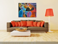 100% Hand Painted Colorful Modern Abstract no Frame Art Nude Women Couple Oil Painting on Canvas Painting Decor for Living Room