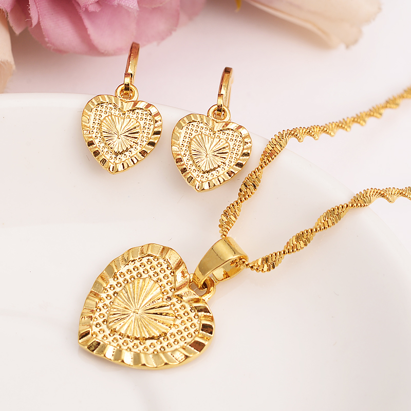 274f02149bd Bangrui Heart Jewelry sets Classical Necklaces Earrings Set Gold Color    Brass