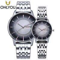 ONLYOU Lovers Watches New Style Mens Creative Design Retro Stainless Steel Band Watch Women Calendar Quartz Clock Wholesale