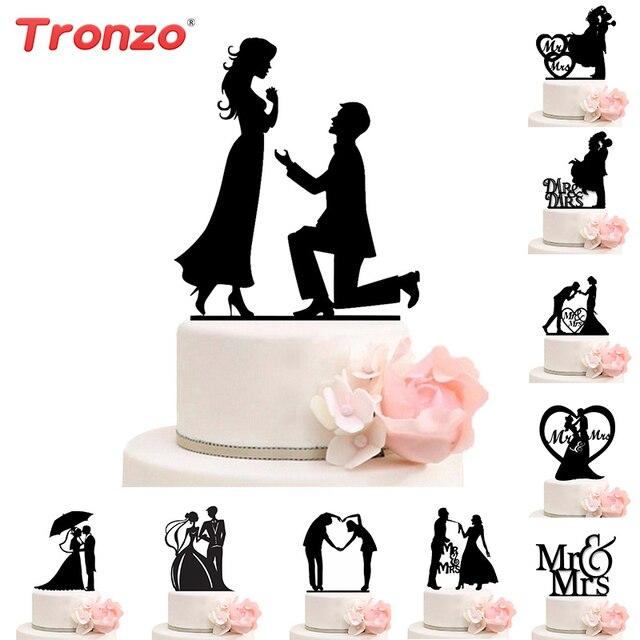 Nova Mr Mrs Decoração Do Bolo de Casamento Topper Acrílico Preto Romântico Acessórios Para O Casamento Favores Do Partido Do Bolo Do Noivo Da Noiva Boda