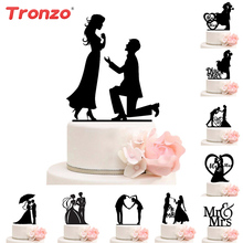Tronzo كعكة الزفاف توبر العروس العريس السيد Mrs زينة الزفاف الاكريليك الأسود كعكة القبعات العالية Mariage لوازم الحفلات الكبار المفضلة