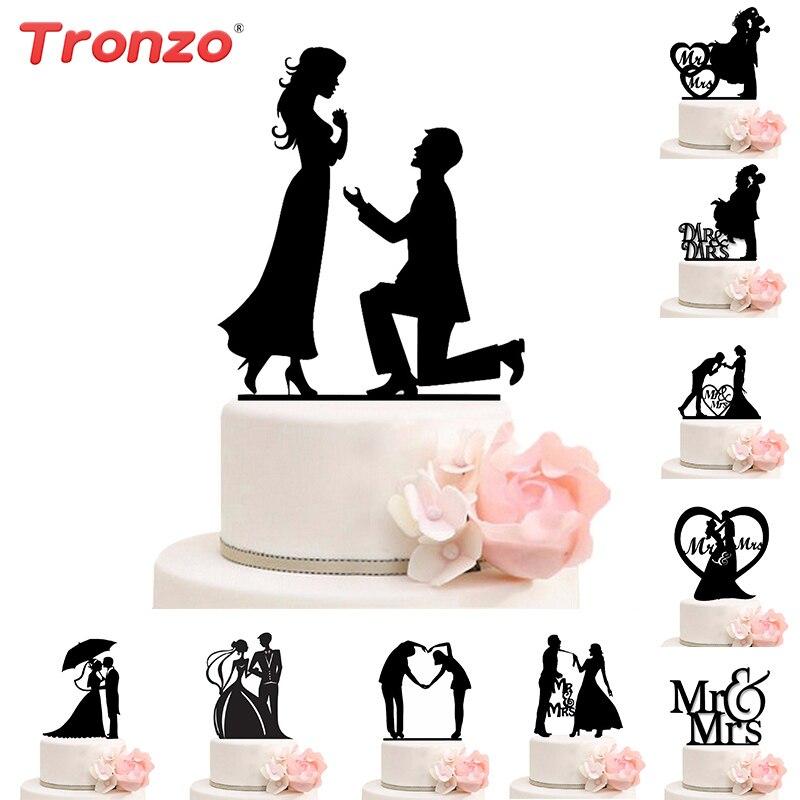 Tronzo gâteau de Mariage Topper mariée marié Mr Mrs décorations de Mariage acrylique noir décoration de gâteau Mariage fête fournitures faveurs adultes
