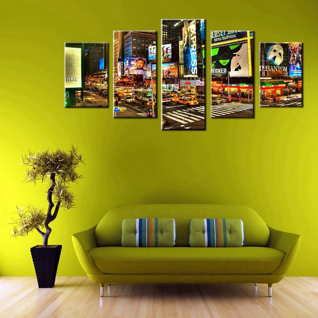 Modern Home Decoration 5 Panels Wall Art Painting Canvas City Night ...