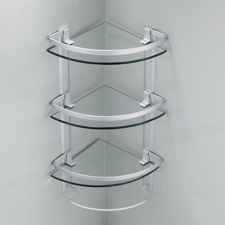 aluminum 3 tier glass shelf shower holder bathroom accessories